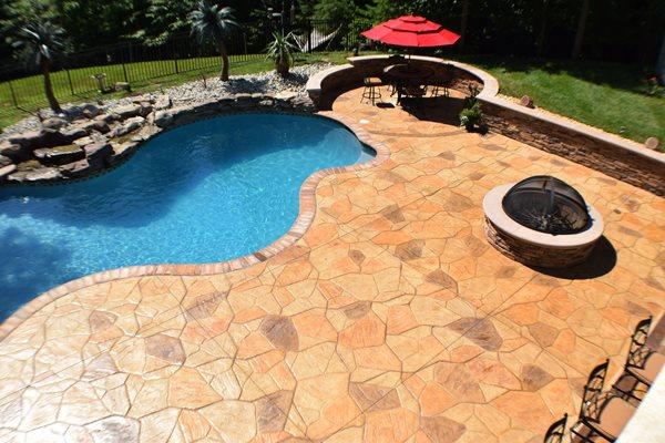 Stamped Pool Deck, Multi Color, Flagstone Concrete Pool Decks Greystone Masonry Inc Stafford, VA