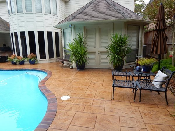 Stamped Pool Deck, Stamped Concrete Concrete Pool Decks EE Construction & Renovations Orlando, FL
