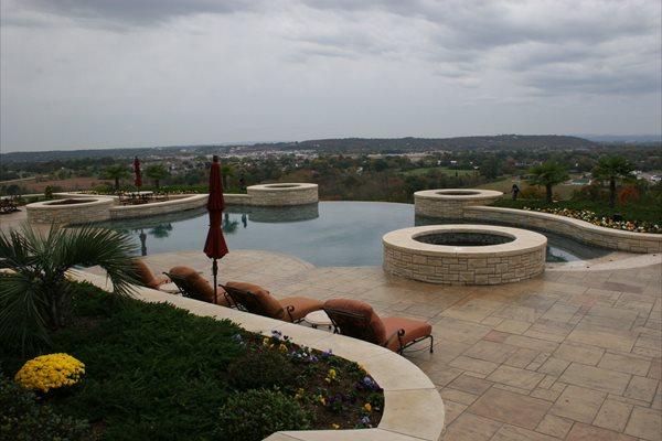 Stamped, Stone, Pool Deck, Tan, View, Infinity Concrete Pool Decks Ozark Pattern Concrete, Inc. Lowell, AR