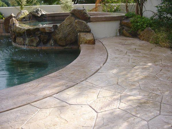 Tan, Stone Concrete Pool Decks Super-Krete Products Spring Valley, CA