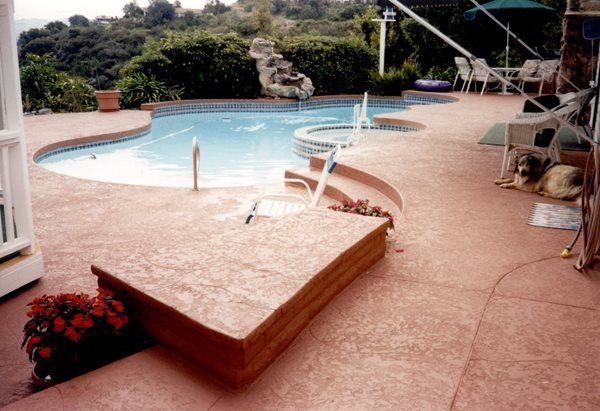 Tan, Textured Concrete Pool Decks Concrete Solutions Products by Rhino Linings® San Diego, CA