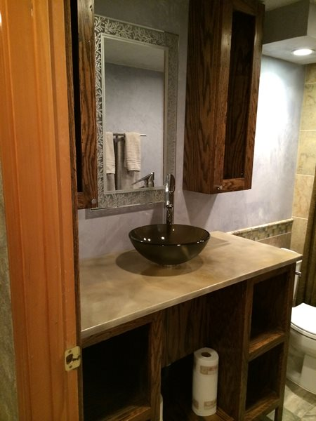 Basement Bathroom Vanity, Concrete Counter Concrete Sinks D.C. Custom Construction Quincy, WA