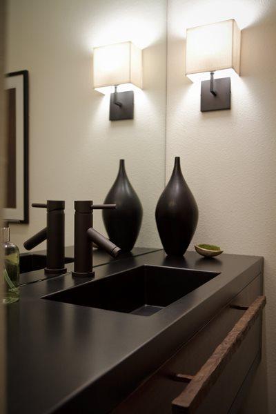 Black Concrete Counter, Integral Square Sink Concrete Sinks Flying Turtle Cast Concrete Modesto, CA