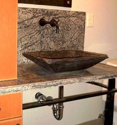 Black, Free Standing Concrete Sinks Hollow Rock Designs Ltd Grand Portage, MN