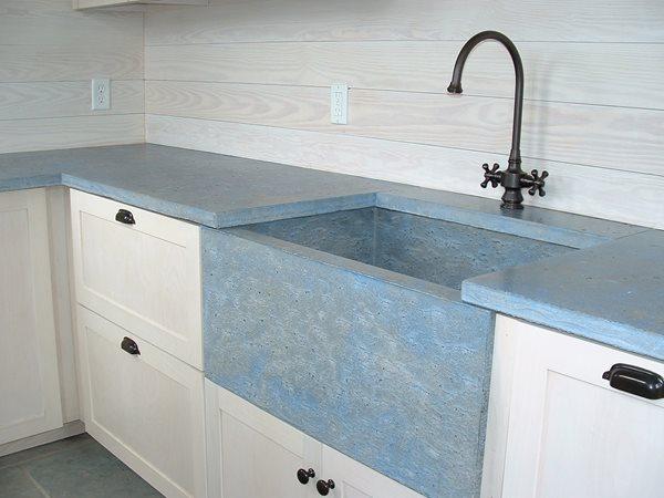 Blue Sink, Farmhouse Sink Concrete Sinks Stonecraft Inc. Buxton, ME