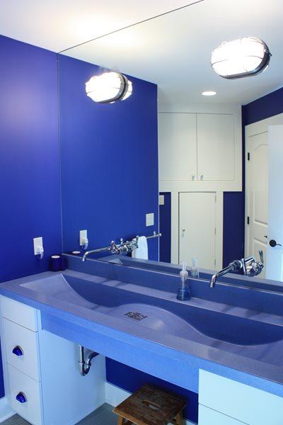 Blue Vanity, Blue Concrete, Blue Sink Concrete Sinks Hard Topix Jenison, MI