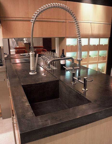 Deep, Industrial Concrete Sinks Art and Maison Inc. Miami, FL