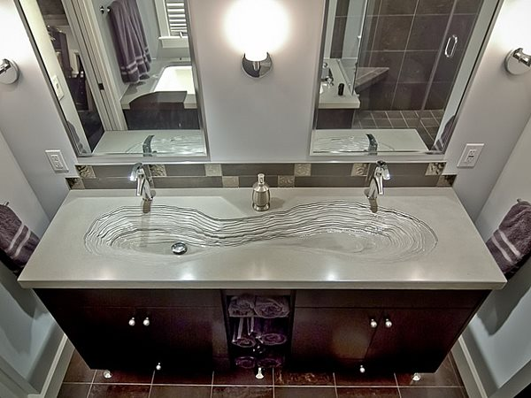 Double Integral Sink, Bathroom Sink Concrete Sinks Reaching Quiet Design Charlotte, NC