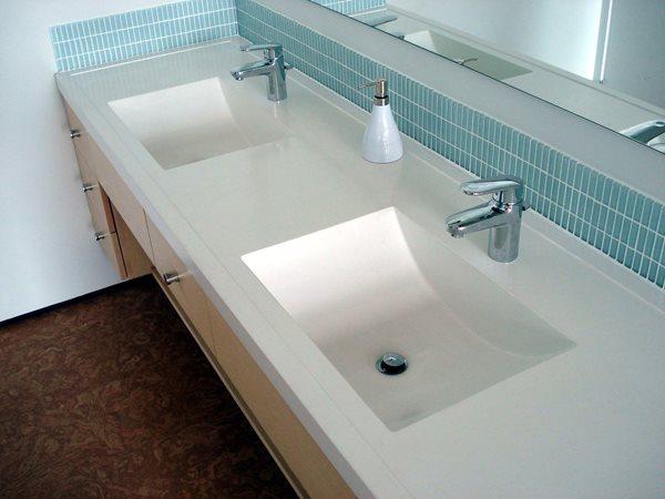 Double Sink, White Sink, Concrete Sink Concrete Sinks Evolution Architectural Concrete Essex, CT