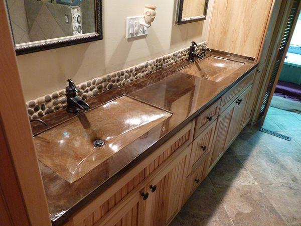 Double Vanity, Bathroom Sinks, Custom Concrete  Concrete Sinks Lustrous Design LTD Chagrin Falls, OH