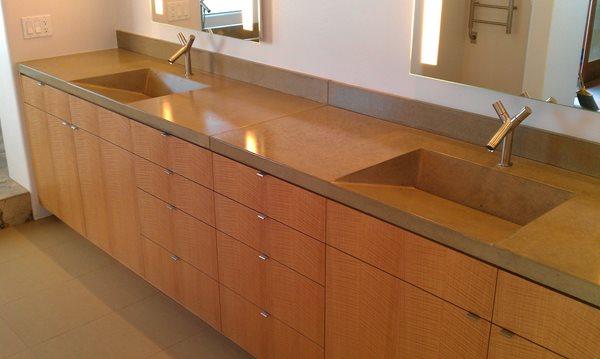 Gray, Double Sink, Concrete, Backsplash Concrete Sinks DC Custom Concrete San Diego, CA