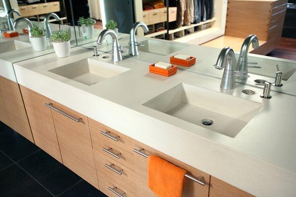 Integral Bathroom Sinks, Powder Room Concrete Sinks Concrete Sinks Pourfolio Custom Concrete San Diego, CA