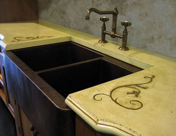 Khaki Green, Scrolls Concrete Sinks Trueform Concrete Wharton, NJ