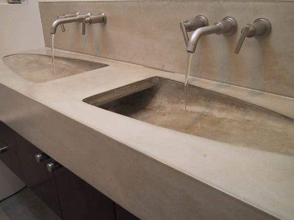 Modern, Double Sink Concrete Sinks Dewulf Concrete Santa Monica, CA