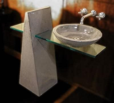 Modern, Triangle Concrete Sinks Grotto Design Canmore, AB