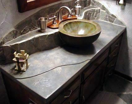 Natural Rock, Bowl Concrete Sinks Studio 3-23 Fort Worth, TX