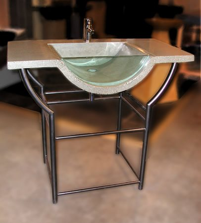 New Age, Glass Concrete Sinks Grotto Design Canmore, AB