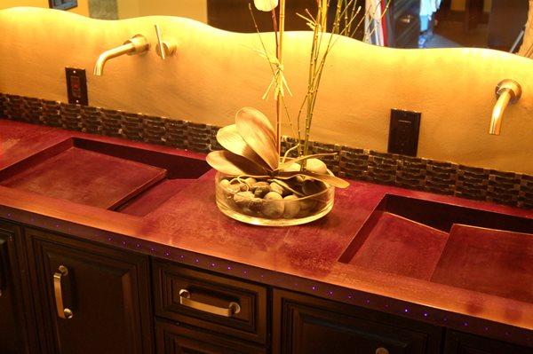 Red Double Sink, Purple Fiber Optics Concrete Sinks Concrete Jungle Spicewood, TX