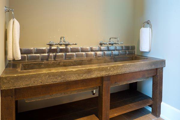 Rustic Double Sink, Trough Sink Concrete Sinks JH Advanced Concrete Solutions Jackson Hole, WY