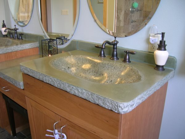 Speckled, Natural Concrete Sinks Absolute ConcreteWorks Port Townsend, WA