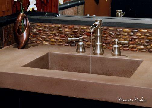 Square Sink, Pebble Backsplash Concrete Sinks SunWorks Decorative Concrete LLC Annville, PA