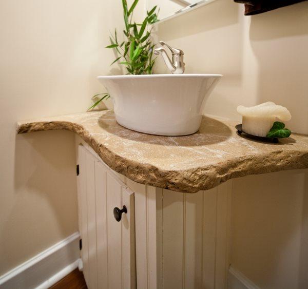 Veined Concrete Vanity, Rough Edge, Porcelain Sink Concrete Sinks Reformed Concrete LLC Quarryville, PA