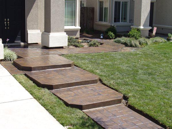 Dark Brown, Stamped Concrete Walkways Advanced Construction Modesto, CA