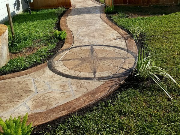 Decorative Concrete, Concrete, Concrete Walkway, Concrete Compass Concrete Walkways Angel's Concrete Design Services Houston, TX