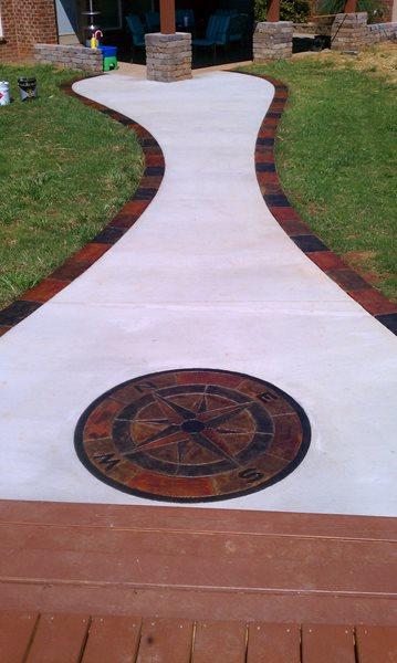 Decorative Concrete Walkway, Compass Rose Concrete Walkways Blue Ribbon Concrete Services Hermitage, TN