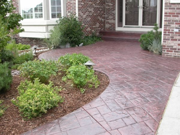 Entrance, Stamped, Stained Concrete Walkways Shades of Color, Inc. Littleton, CO