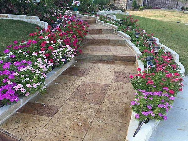 Faux Stone, Travertine, Textured Concrete Concrete Walkways Omega Construction Services LLC McKinney, TX