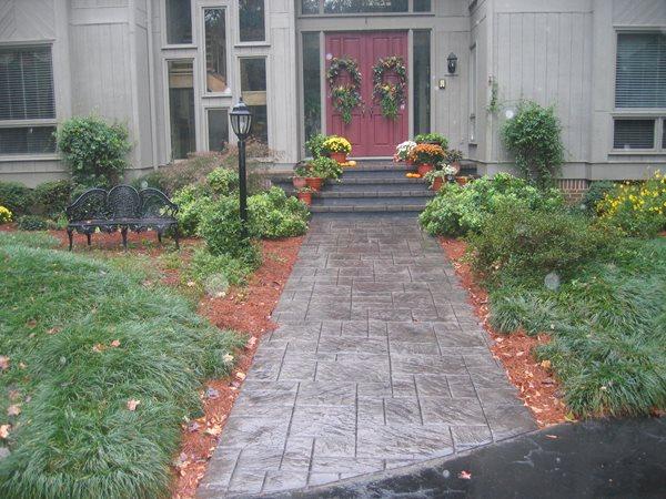 Patterned Concrete Entryway, Gray Concrete Walkway Concrete Walkways Precision Concrete Floors Greer, SC
