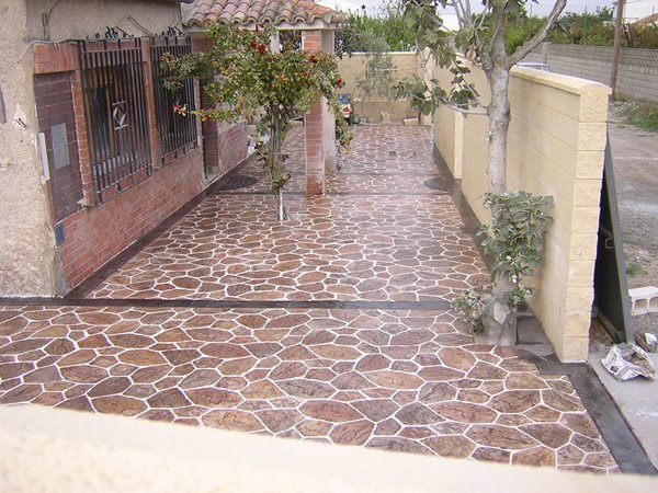 Stamped, Cobble Stone Concrete Walkways Freeman Spain
