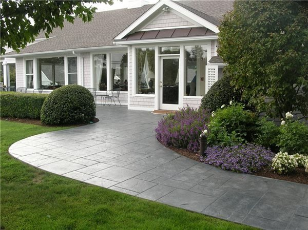 Stamped Front Walkway Concrete Walkways Bedford Concrete & Masonry LLC White Plains, NY