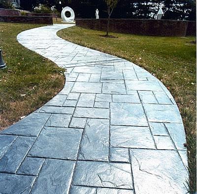 Stamped, Grey Concrete Walkways AMCON, LLC Gaithersburg, MD