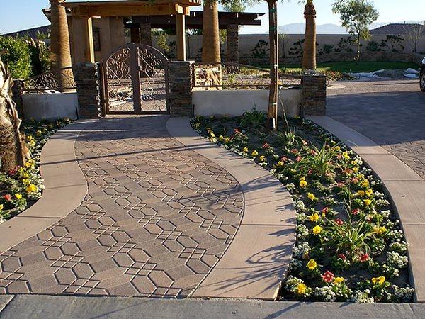 Stamped Walkway, Stamped Concrete Concrete Walkways JGL Indio, CA