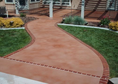 Terra Cotta, Stained Concrete Walkways Engraved Expressions LLC Ontario, OR