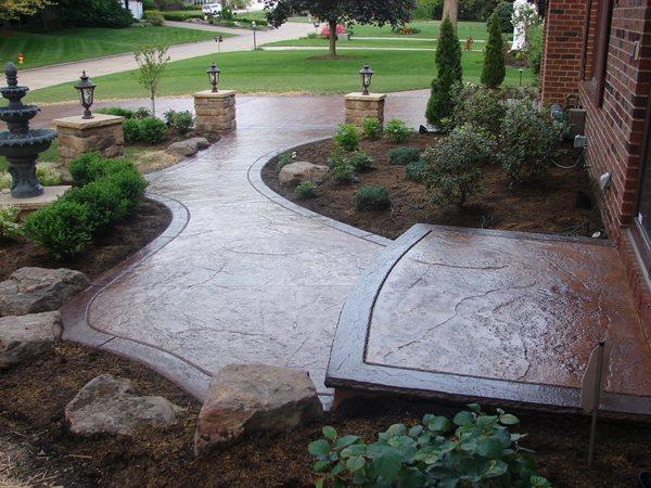 Textured, Walkway, Brown, Landscaping Concrete Walkways J&H Decorative Concrete LLC Uniontown, OH