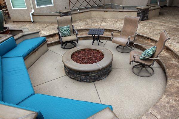 Exposed Aggregate, Sunken Patio Exposed Aggregate Heritage Bomanite Fresno, CA