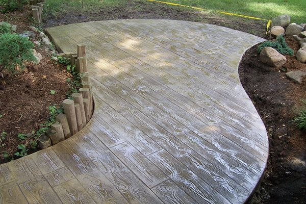 Faux Bois Patio, Wood Stamped Concrete Concrete Creations Plymouth, IN