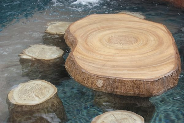 Faux Log Stools, Swim Up Table Matrix Concrete Artisans Oceanside, CA