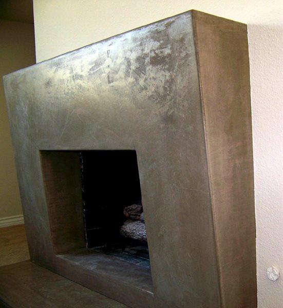 Brown, Concrete Fireplace Fireplace Surrounds Kaldari Santa Ana, CA