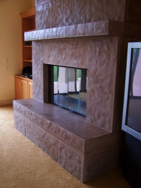 Brown, Large Fireplace Surrounds Concrete Interiors Martinez, CA