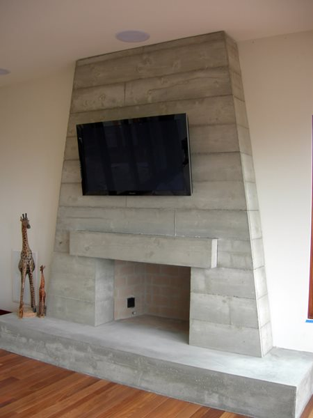 Concrete Fireplace, Stacked Timber, Fireplace Surrounds DC Custom Concrete San Diego, CA