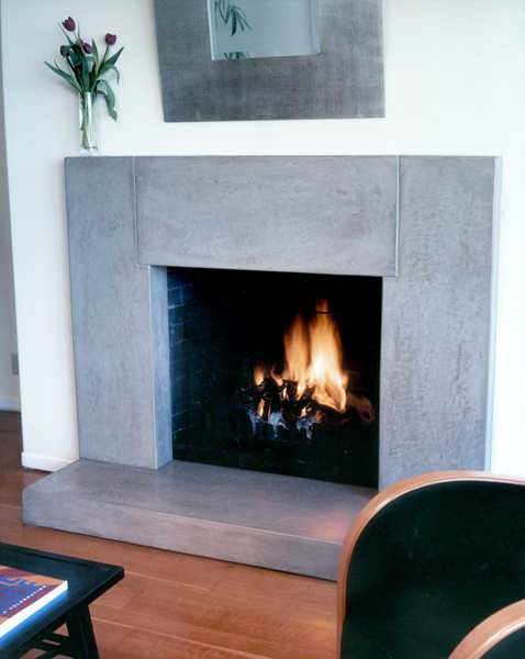 Gray, Clean Fireplace Surrounds Buddy Rhodes Concrete Products SF, CA