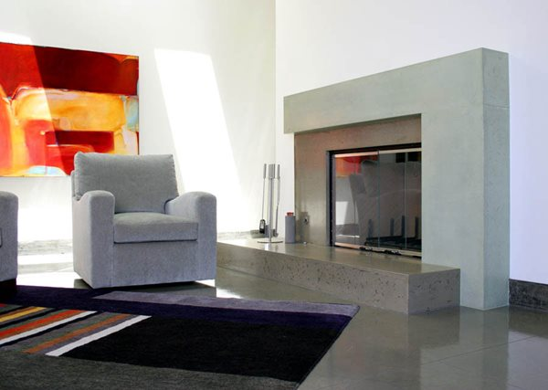 Grey, Brown, Two Tone, Fireplace Surround Fireplace Surrounds California Concrete Designs Anaheim, CA