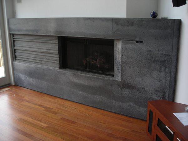 Grey Concrete Fireplace, Natural Concrete Fireplace Fireplace Surrounds Livingstone Concrete Studios Lincoln, RI