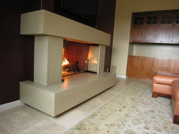 Grey Concrete Fireplace Fireplace Surrounds Pourfolio Custom Concrete San Diego, CA