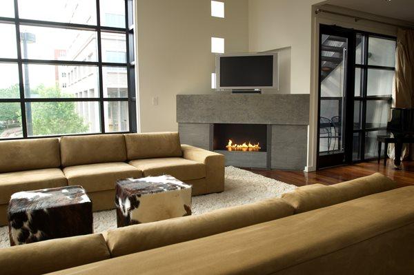 Grey, Corner Fireplace Surrounds Reaching Quiet Design Charlotte, NC