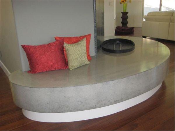 Grey Fireplace Hearth, Fireplace Bench Fireplace Surrounds Concrete Evolution Inc San Rafael, CA